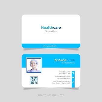 Design plano de cartão de visita médico