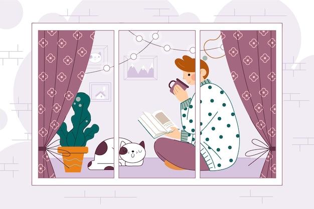 Design plano de cenas de estilo de vida hygge