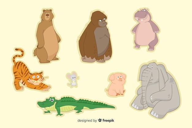 Design plano de coleção animal bonito dos desenhos animados