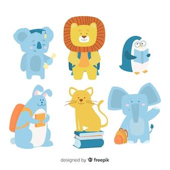 Design plano de coleção de animais selvagens