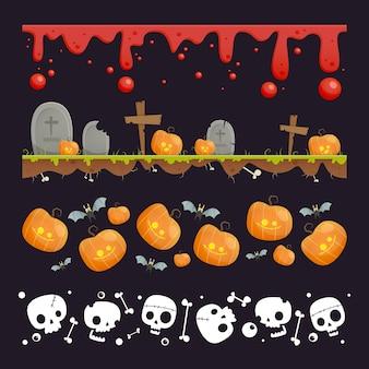 Design plano de coleção de borda de halloween