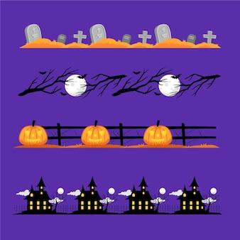 Design plano de coleção de bordas de halloween