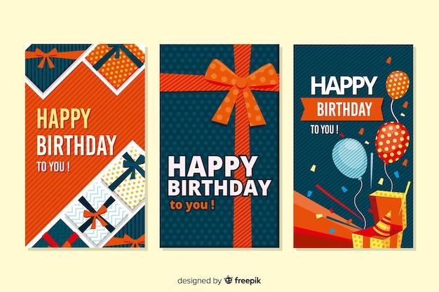 Design plano de coleção de cartão de aniversário