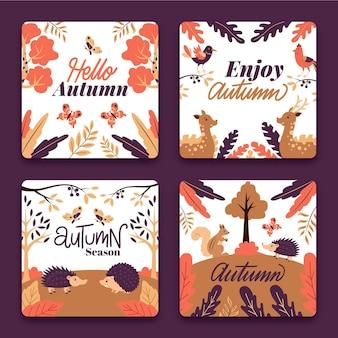 Design plano de coleção de cartão outono