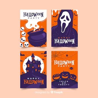 Design plano de coleção de cartões de dia das bruxas