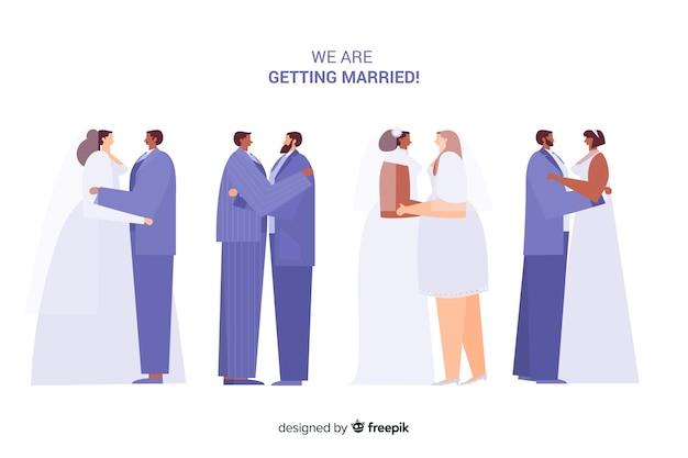 Design plano de coleção de casal casamento