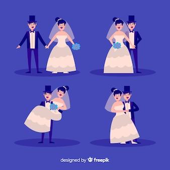 Design plano de coleção de casal de noivos