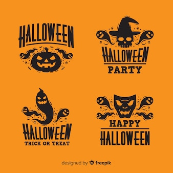 Design plano de coleção de distintivo de halloween