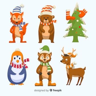 Design plano de coleção de distintivo de natal