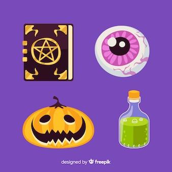 Design plano de coleção de elemento de halloween