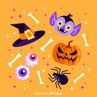 Design plano de coleção de elementos de halloween