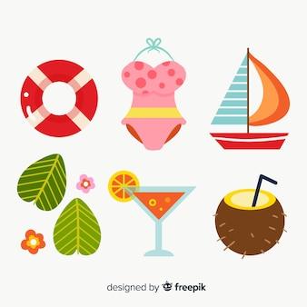 Design plano de coleção de elementos de verão