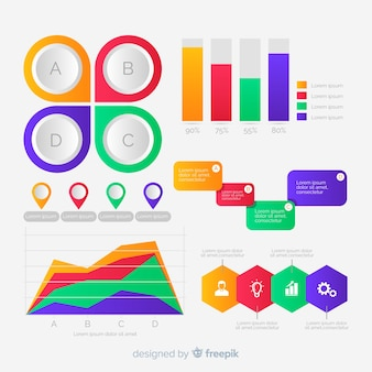 Design plano de coleção de elementos infográfico