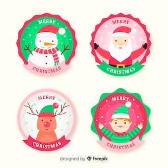 Design plano de coleção de etiquetas de natal