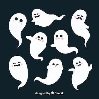 Design plano de coleção de fantasma de halloween