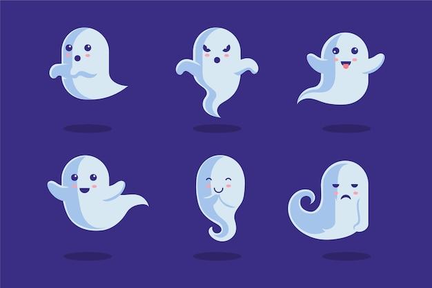 Design plano de coleção de fantasmas de halloween