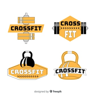 Design plano de coleção de logotipo crossfit