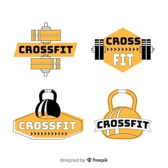 Design plano de coleção de logotipo crossfit
