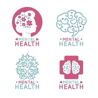 Design plano de coleção de logotipo de saúde mental
