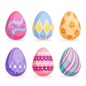 Design plano de coleção de ovos de dia de páscoa