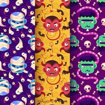 Design plano de coleção de padrão de halloween