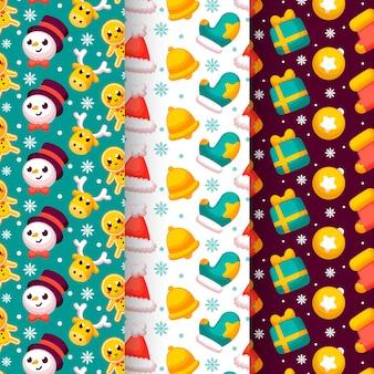 Design plano de coleção de padrão de natal