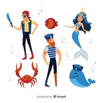 Design plano de coleção de personagem de vida marinha