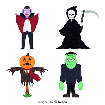 Design plano de coleção de personagens de halloween