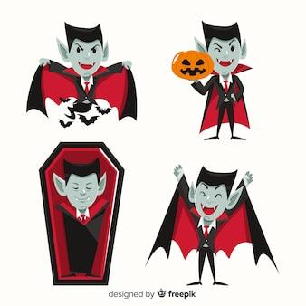 Design plano de coleção de personagens de vampiro drácula