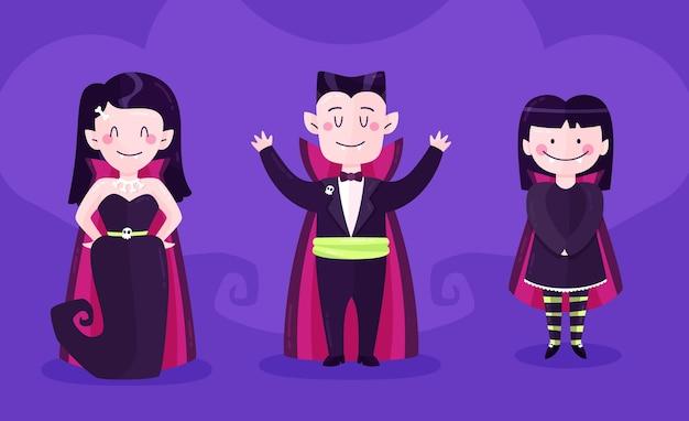 Design plano de coleção de personagens de vampiros