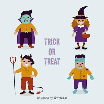 Design plano de coleção de personagens do halloween
