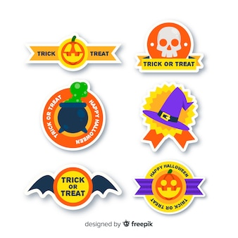 Design plano de coleção de rótulo de halloween