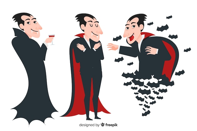 Design plano de coleção de vampiro