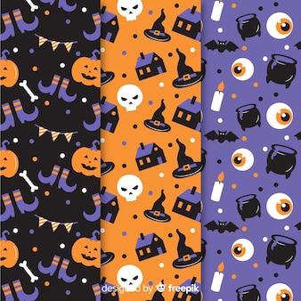 Design plano de coleção padrão de halloween