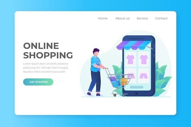 Design plano de compras de landing page on-line com homem e carrinho