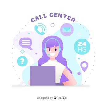 Design plano de conceito de centro de chamada