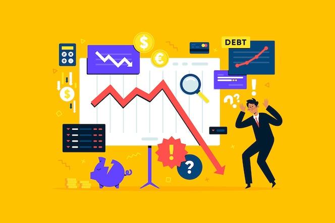 Design plano de conceito de falência