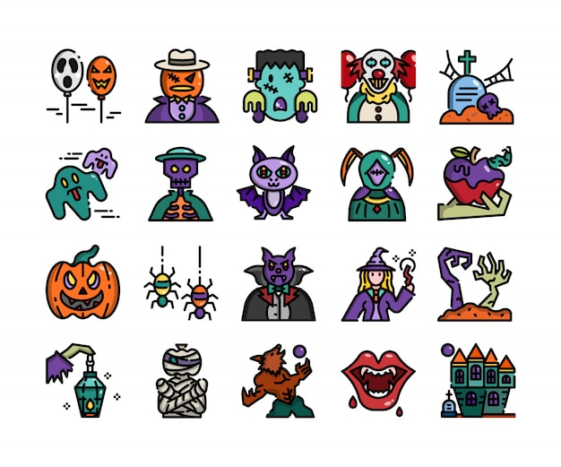 Design plano de contorno de halloween