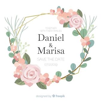 Design plano de convite de casamento de quadro