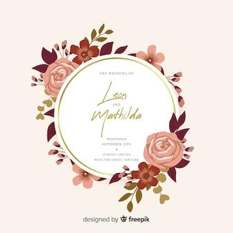 Design plano de convite de casamento moldura floral