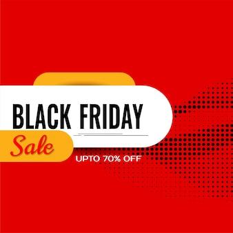 Design plano de cor vermelha fundo preto de venda na sexta-feira