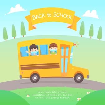Design plano de crianças vestindo uma máscara no ônibus da escola