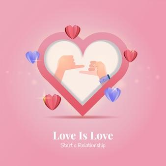 Design plano de dois dedinhos para iniciar uma amizade para os cumprimentos do dia dos namorados