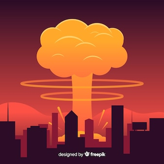 Design plano de efeito de explosão nuclear