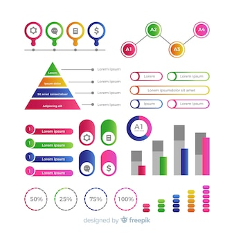 Design plano de elementos coloridos infográfico