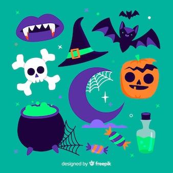 Design plano de elementos do dia das bruxas