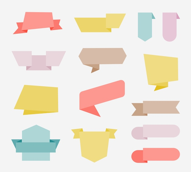 Design plano de etiquetas, banners de fita