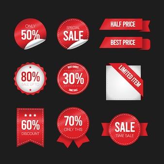 Design plano de etiquetas. coleção de marcas de venda.
