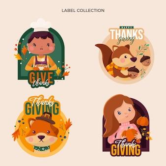 Design plano de etiquetas e emblemas de ação de graças