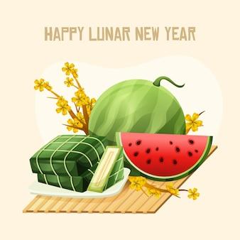 Design plano de feliz ano novo lunar vietnamita
